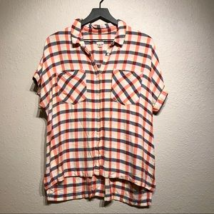 Target Plaid Short Sleeved Blouse